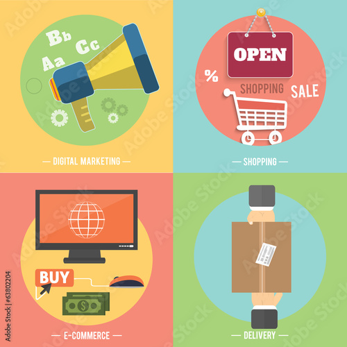 Icons for e-commerce, delivery, online shopoing.