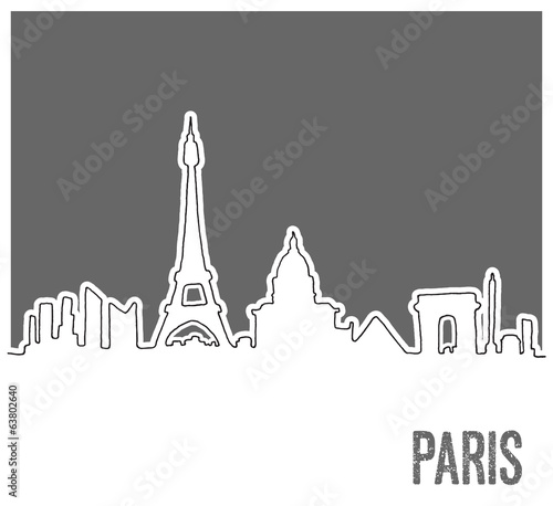Cute Hand drawn Skyline of Paris City, Vector Doodle Style