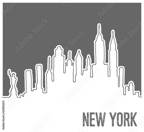 Cute Hand drawn Skyline of New York City, Vector Doodle Style