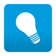Etiqueta tipo app azul simbolo bombilla