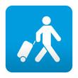 Etiqueta tipo app azul simbolo viajero