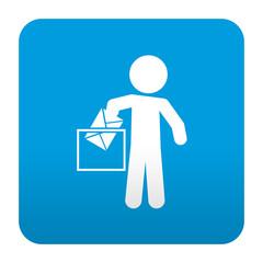 Etiqueta tipo app azul simbolo votacion