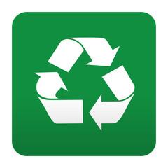 Etiqueta tipo app verde simbolo reciclaje