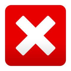 Etiqueta tipo app roja simbolo error