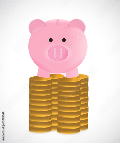 coins and piggybank illustration design