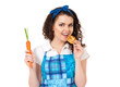 Girl with carrot and cookie