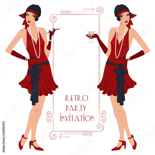 Retro flappper girl, party invitation poster - 63803475