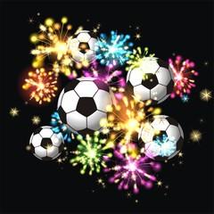 Feuerwerk mit Fussbällen
