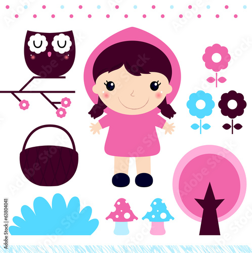 Red Riding Hood design elements set