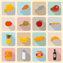 Supermarket foods icons set