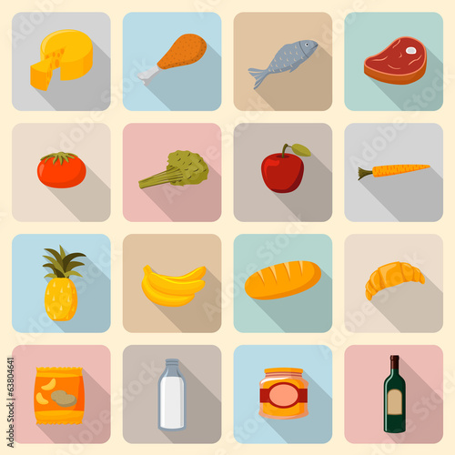 Supermarket foods icons set