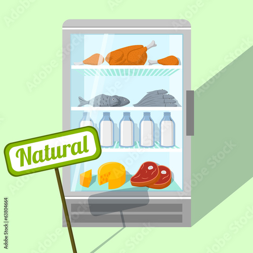Natural foods in refrigerator