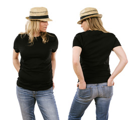 Woman in her forties wearing blank black shirt