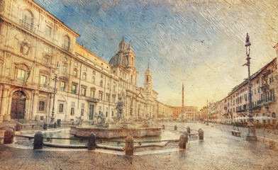 view of piazza Navona in the morning. Rome. Italy.