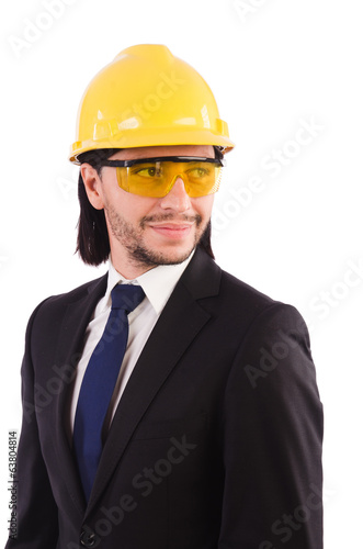Businessman-builder in protective glasses  isolated on white