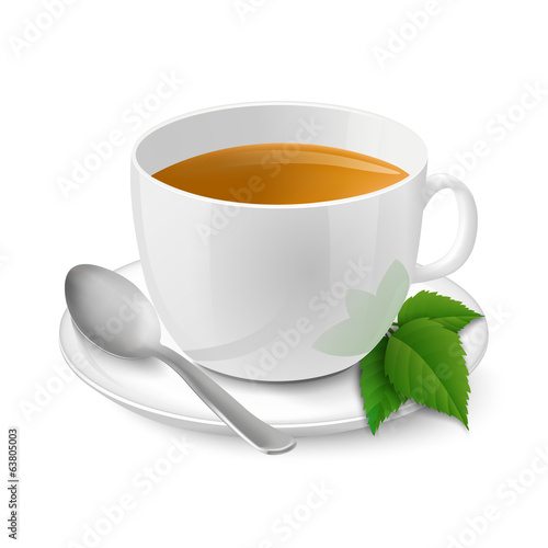 Realistic white cup with black tea and mint