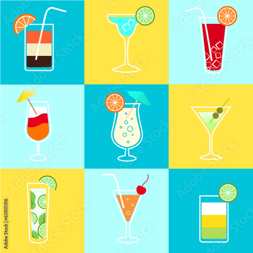 Cocktails Party Icons Set