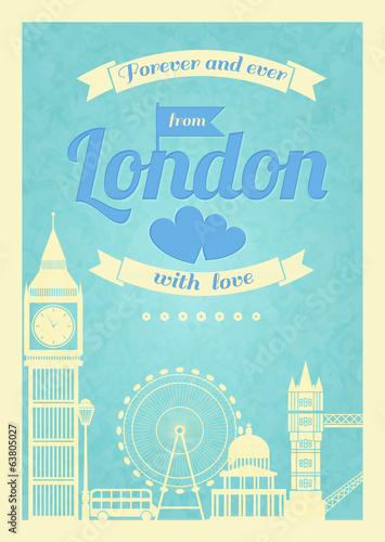 Love London vintage retro poster