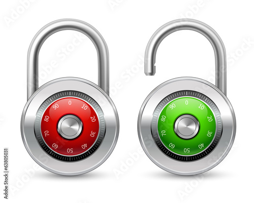 Open and closed realistic lock icon