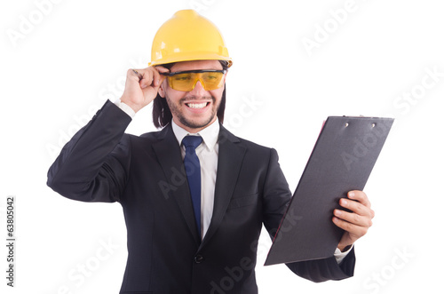 Businessman -builder  with binder  isolated on white