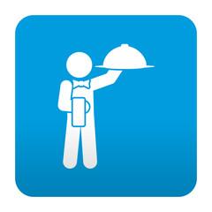 Etiqueta tipo app azul simbolo camarero