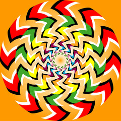 Rotation illusion with optical illusion effect