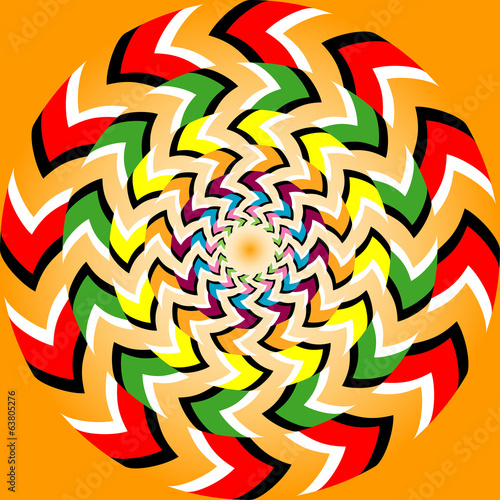 Rotation illusion with optical illusion effect
