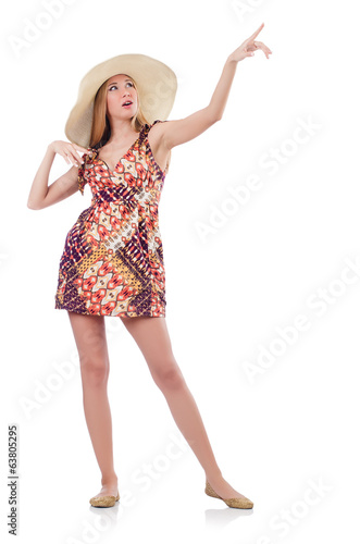 Beautiful woman in summer dress pressing virtual button isolated