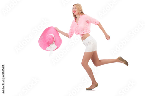 Young model in  panama hat in motion isolated on white
