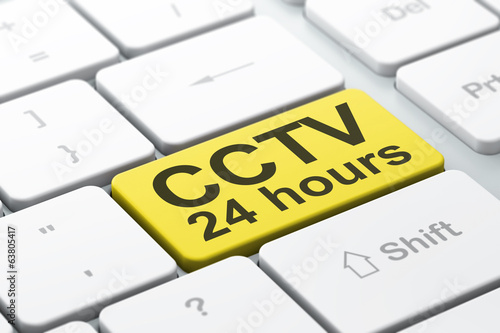 Protection concept: CCTV 24 hours on computer keyboard