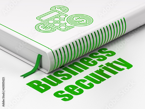 Safety concept: book Calculator, Business Security on white