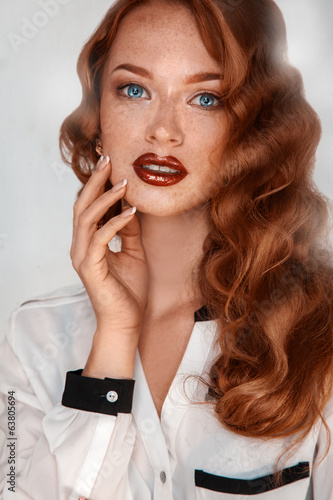 Portrait of sensual girl with freckles