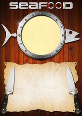 Seafood Menu with Metal Porthole