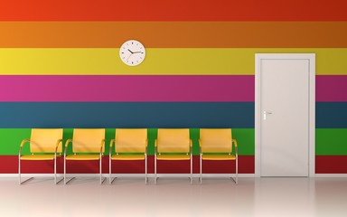 Colorful interior - horizontal colored lines on wall