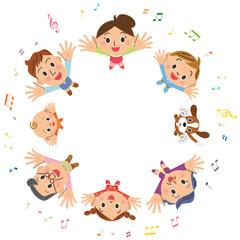 音符と家族集合