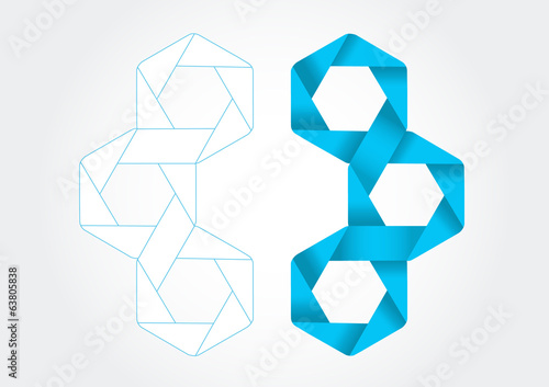 Hexagon bands with 3D effect in vector format.