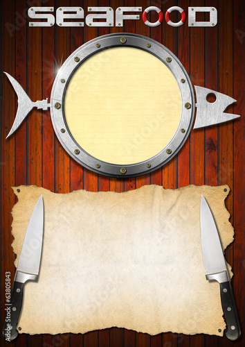Seafood Menu with Metal Porthole