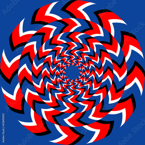 Rotation effect with optical illusion effect