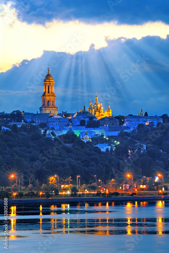 Kiev Pechersk Lavra night view from Dnipro river