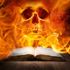 Fire skull and book
