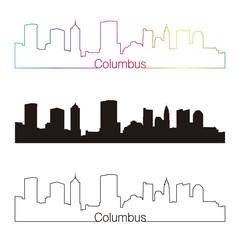 Columbus skyline linear style with rainbow