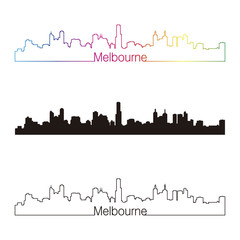 Melbourne skyline linear style with rainbow