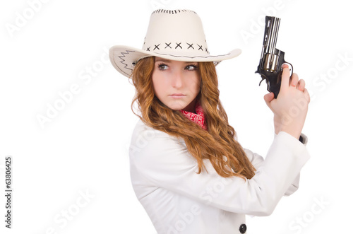 Young   cowgirl with gun  isolated on white