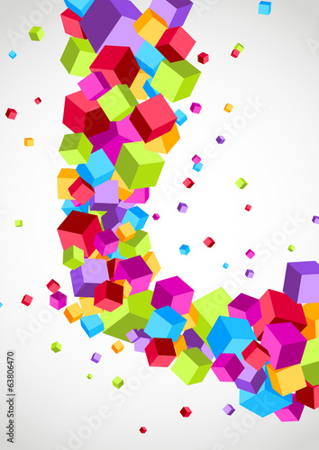 Cubes fly colorful swoosh wave background