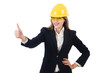 Pretty businesswoman with hard hat and in protective eyeglasses