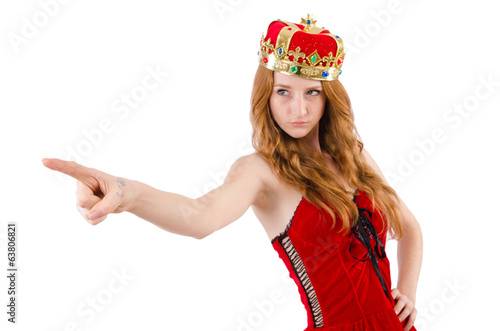 Redhead pretty  girl with crown pressing virtual buttons  isolat