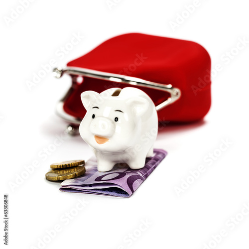 Pink piggy bank and red purse