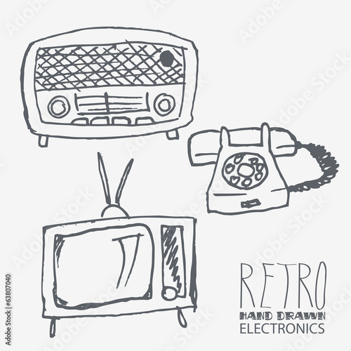 Vector retro hand-drawn electronics set