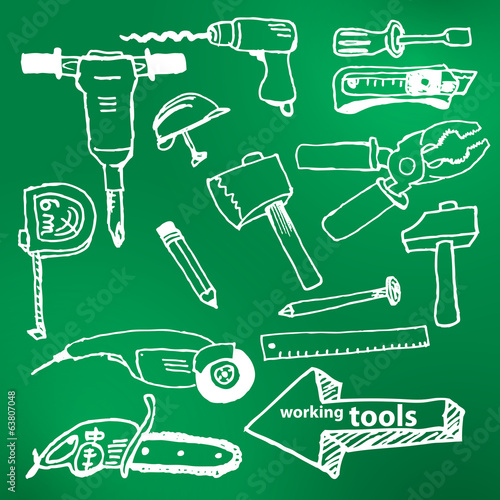 Vector hand-drawn working tools set