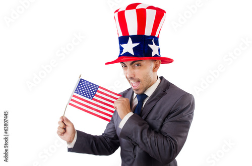 Man with american flag and hat